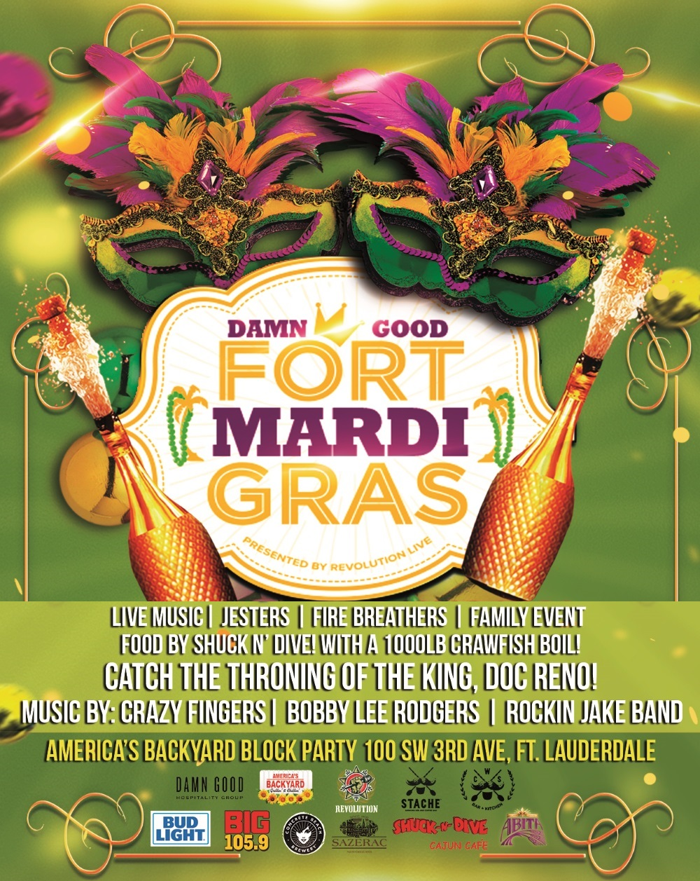 Image of the Damn Good Fort Mardi Gras Poster